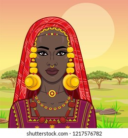 Portrait of the beautiful African woman  in ancient clothes and jewelry. Savanna princess, Amazon, nomad. Background - a landscape the desert.  Vector illustration.