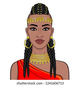 portrait of the beautiful African woman in ancient clothes and jewelry. Amazon, warrior, princess. Color drawing. Vector illustration isolated on a white background. Print, poster, t-shirt.