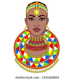 portrait of the beautiful African woman in ancient clothes and jewelry. Color drawing. Vector illustration isolated on a white background. Print, poster, t-shirt, card.