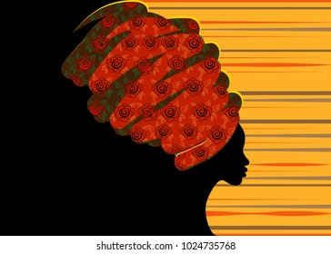 portrait beautiful African woman in traditional turban, Kente head wrap African, Traditional dashiki printing, black afro women vector silhouette isolated with traditional batik, ethnic background