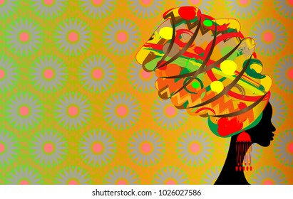 portrait beautiful African woman in traditional turban, Kente head wrap African, Traditional dashiki printing, black Afro women vector silhouette  with traditional jewelry, ethnic art batik background
