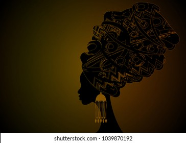 Portrait beautiful African woman in traditional turban, Kente head wrap, dashiki printing, black afro women vector silhouette Africa batik ethnic geometric decoration Brown color cloth, hairstyle