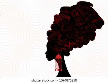 portrait beautiful African woman in traditional turban, Kente head wrap African, dashiki printing, black afro women vector silhouette with African  earring. Vector isolated or twist shape background