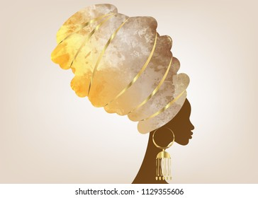 portrait beautiful African woman in traditional turban, Kente head wrap African, Traditional dashiki printing, black women vector silhouette isolated with traditional gold earrings, hairstyle concept