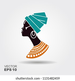 Portrait beautiful African woman in traditional turban. Vectot flat icon