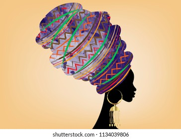 portrait beautiful African woman in traditional turban, Kente head wrap African, Traditional dashiki printing, black afro women vector silhouette isolated with traditional batik, Afro ethnic fabric
