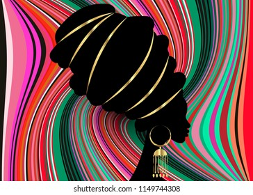 portrait beautiful African woman in traditional turban, Kente head wrap African, Traditional dashiki printing, black women vector black silhouette with traditional gold earrings, multicolor background