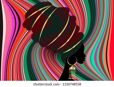 portrait beautiful African woman in traditional turban, Kente head wrap African, Traditional dashiki printing, Afro women vector black silhouette with traditional gold earrings, multi color background