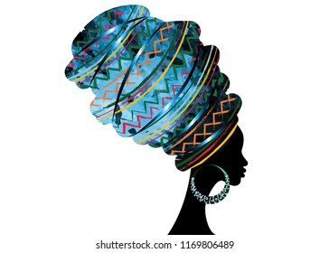 portrait beautiful African woman in traditional turban, Kente head wrap African, Traditional dashiki printing, black women vector silhouette isolated with traditional bone earrings, hairstyle concept