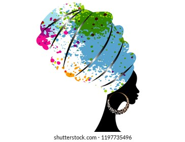 portrait beautiful African woman in traditional turban, Kente head wrap Afro Traditional dashiki printing, black women vector silhouette isolated with bone earrings, hairstyle concept, splatter style