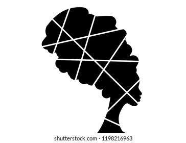 portrait beautiful African woman in traditional turban, Afro black women vector silhouette isolated , logo design hairstyle concept