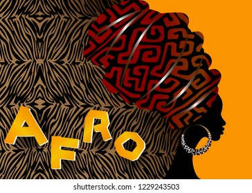 portrait beautiful African woman in traditional turban, Kente head wrap African, Traditional dashiki printing, black afro women vector silhouette with ethnic zebra texture, vector batik background