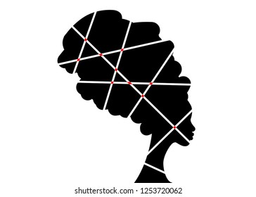 portrait beautiful African woman in traditional turban, black women vector silhouette isolated , logo design hairstyle concept