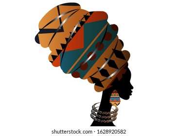 Portrait beautiful African woman in traditional turban wearing typical Afro ethnic jewelry. Ankara colorful texture Headwrap. Vector isolated or white background