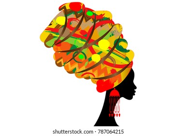 portrait beautiful African woman in traditional turban, Kente head wrap African, Traditional dashiki printing, black women vector silhouette isolated with traditional earrings, hairstyle concept