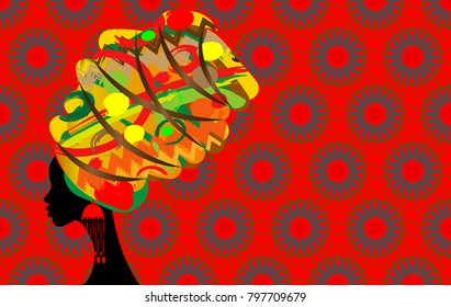 portrait beautiful African woman in traditional turban, Kente head wrap African, Traditional dashiki printing, black Afro women vector silhouette  with traditional jewelry, ethnic batik background
