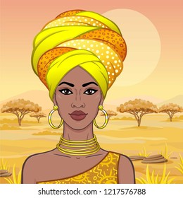 Portrait of the beautiful African woman  in a turban. Savanna princess, Amazon, nomad. Background - a landscape the desert.  Vector illustration.