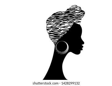 portrait beautiful Afro woman. Shenbolen Ankara Headwrap Women African Traditional Headtie Scarf Turban. Colorful Kente head wraps African fabric design, zebra texture. Vector icon logo isolated