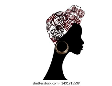 portrait beautiful Afro woman. Shenbolen Ankara Headwrap Women African Traditional Headtie Scarf Turban.  Kente head wraps African tribal fabric design. Vector icon logo isolated white background