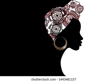 portrait beautiful Afro woman. Shenbolen Ankara Headwrap Women African Traditional Headtie Scarf Turban.  Kente head wraps African tribal fabric design. Vector icon logo template brochure background