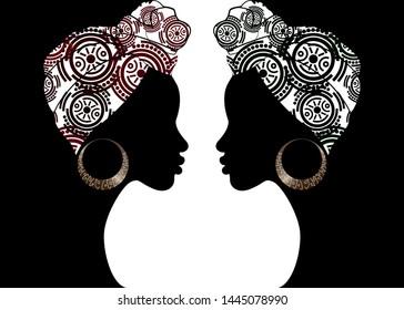 portrait beautiful Afro woman. Shenbolen Ankara Headwrap Women African Traditional Headtie Scarf Turban.  Kente head wraps African tribal batik fabric design. Vector women diversity concept background
