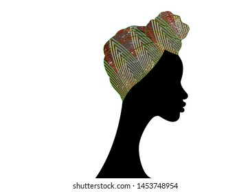 portrait beautiful Afro woman. Shenbolen Ankara Headwrap Women African Traditional Headtie Scarf Turban. Colorful Kente head wraps African fabric design. Vector icon logo isolated white background