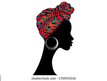 portrait beautiful Afro woman. Shenbolen Ankara Headwrap Women African Traditional Headtie Scarf Turban. Kente head wraps African fabric design, zebra texture. Vector isolated on white background