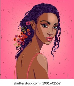 portrait of beautiful black woman with flowers