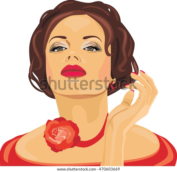 portrait-beautiful-brunette-red-rose-600