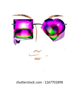 The Portrait of a Beautiful Girl with Asymmetrical Sunglasses. Vector Sketch of  Glasses with Heart and Rectangular Lens Shape. Fashion Illustration. Beauty Face. Young Lady. Freehand Drawing.