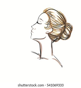 A Portrait of a Beautiful Girl with a Bun Hairstyle. Vector Illustration.