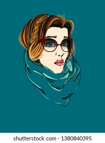 The Portrait of a Beautiful Girl with Cat Eye-Glasses and Milkmaid Hairstyle. Fashion Illustration. Freehand Drawing. Vector Sketch. Beauty Face. Elegant Woman with Vintage Sunglasses and Scarf.