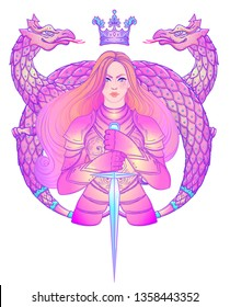 Portrait of beautiful girl with dragon. Female knight in armour. Vector illustration. Medieval aesthetics. Girl power. Joan of Arc inspired. Sticker, patch, t-shirt print, logo design.