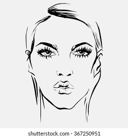 Portrait of a beautiful girl for a fashion magazine illustrations. Hand drawing chart