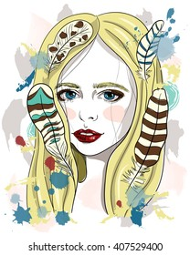 Portrait of beautiful girl with feathers in her hair. Vector fashion illustration on white background. Print for T-shirt
