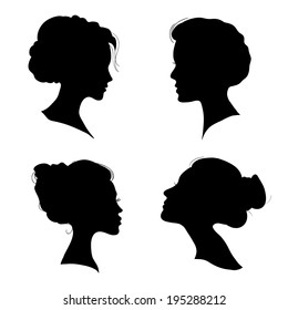 portrait of beautiful girl with a hairstyle, a woman in profile, isolated outline silhouette - vector illustrations set