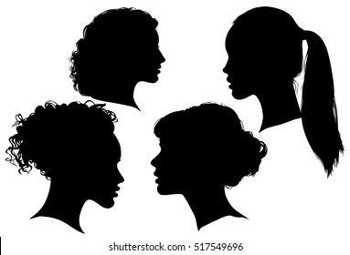 Portrait of beautiful girl with a hairstyle, a woman in profile, isolated outline silhouette - vector illustrations set.