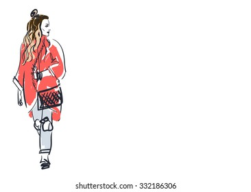 Portrait of a beautiful girl of a hipster. on the street cold weather. Vector Illustration for Fashion Blog. Street-style of  a Half Bun. The half bun or up top knot hairstyle.  Place for text