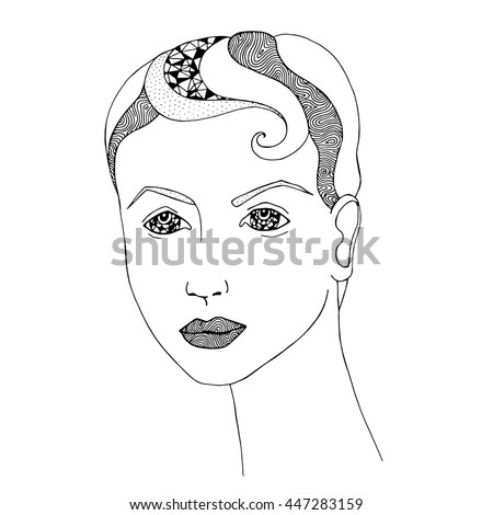 Portrait Beautiful Girl Short Hair Natural Stock Vector Royalty