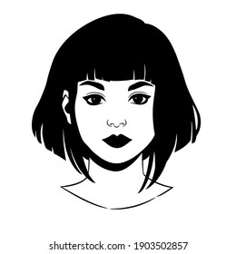 portrait of a beautiful girl with short haircut