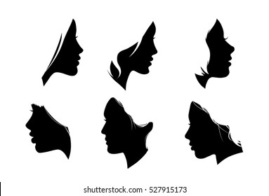 Portrait of beautiful girl with a white hairstyle, a woman in profile, isolated outline silhouette - vector illustrations set.