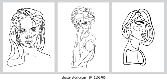 portrait of a beautiful girl, wind images collection, beautiful women, one line drawing, modern art