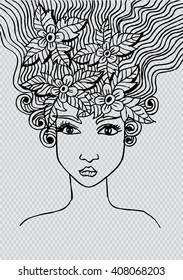 .Portrait of a beautiful girl in zentangle style