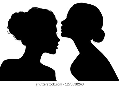 Portrait of beautiful girls with a hairstyle, a woman in profile, isolated outline silhouette