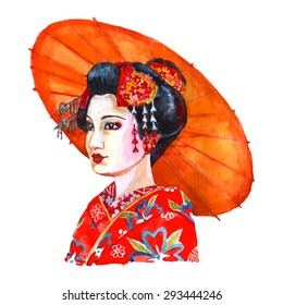 4f517e7441 Portrait of beautiful japanese lady in traditional women clothing and hair  arrangement red watercolor abstract vector
