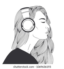 Portrait of beautiful long-haired young woman wearing headphones drawn with black contour lines on white background. Relaxed girl listening to music, side view. Monochrome vector illustration.