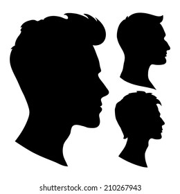 portrait of beautiful man with a hairstyle, in profile, isolated outline silhouette - vector illustrations set