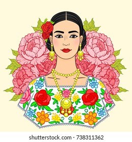 Portrait of the beautiful Mexican girl in  ancient  clothes, a background - the stylized roses. Boho chic, ethnic, vintage. Vector illustration isolated.
