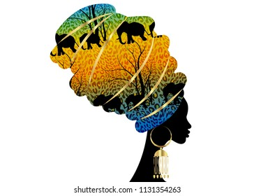 Portrait beautiful silhouette African woman in traditional turban, Kente head wrap Africa, Traditional dashiki printing, Batik style tiger pattern with cute animal, Elephants. Vector isolated