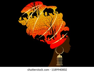 Portrait beautiful silhouette African woman in traditional turban, Kente head wrap Afro, Traditional dashiki printing Batik style tiger pattern with cute animal Elephants. Vector isolated or black